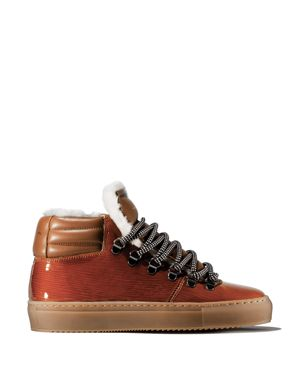 ZESPÀ Women'S Leather & Shearling Lace Up Platform Sneaker in Natural