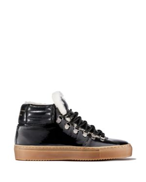 ZESPÀ Women'S Leather & Shearling Lace Up Platform Sneaker in Black