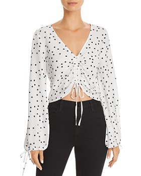 Lucy Paris - Ruched Drawstring Polka Dot Top - 100% Exclusive