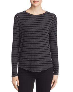 GENERATION LOVE PAULINE LACE-UP STRIPED TEE