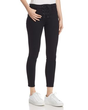 Looker High-Rise Lace-Up Skinny Jeans In Not Guilty
