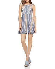 BCBGeneration - Cutout Striped Fit-and-Flare Dress