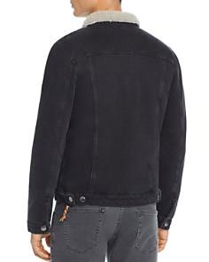 FRAME - L'Homme Faux Shearling-Trimmed Denim Trucker Jacket