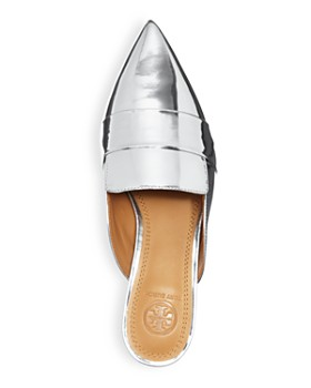 Tory Burch - Women's Rosalind Pointed Toe Metallic Leather Mules