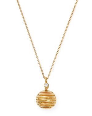 OLIVIA B 14K YELLOW GOLD DIAMOND SPHERICAL PENDANT NECKLACE, 17 - 100% EXCLUSIVE
