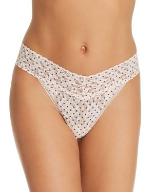 Pixie Dot Original Rise Signature Lace Thong, Vanilla/ Black
