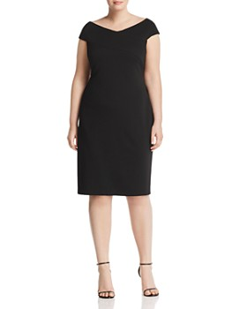 Adrianna Papell Plus - Crossover Off-the-Shoulder Dress