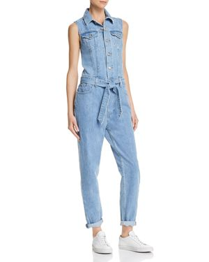 Tapered Denim Jumpsuit, In A Snap
