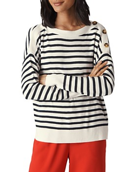 Whistles - Striped Button-Detail Sweater