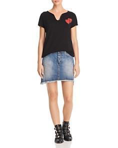 AQUA - Frayed Denim Mini Skirt - 100% Exclusive