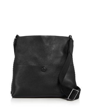 CALLISTA Iconic Noir Slim Leather Messenger Bag in Sable Noir Black/Gunmetal