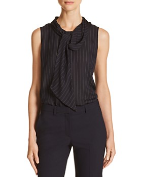 Theory - Tie-Neck Striped Silk Top