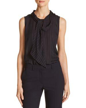 Theory Tie-Neck Striped Silk Top