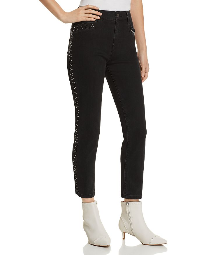 Pistola - Charlie Beaded Straight-Leg Jeans in Charcoal - 100% Exclusive