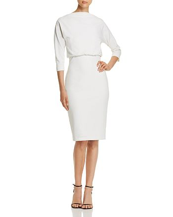 Badgley Mischka - Boat Neck Blouson Sheath Dress - 100% Exclusive