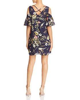 B Collection by Bobeau - Floral-Print Cold-Shoulder Dress - 100% Exclusive