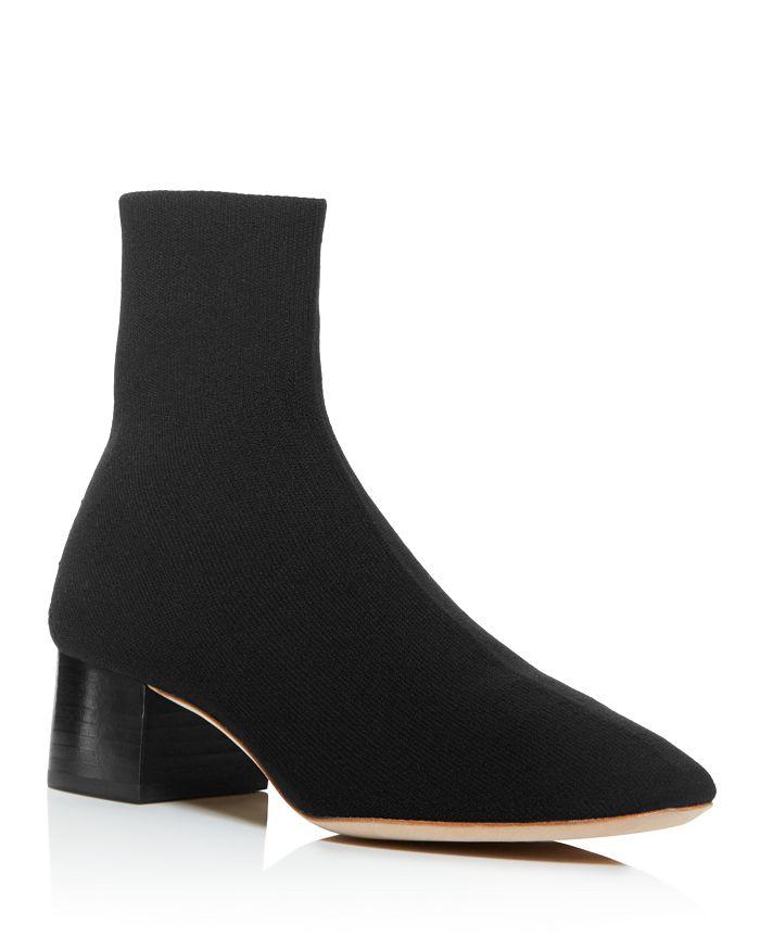 Loeffler Randall - Women's Carter Pointed-Toe Glitter Knit Block Low-Heel Booties