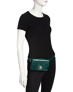 AQUA - Medium Croc-Embossed Convertible Belt Bag - 100% Exclusive