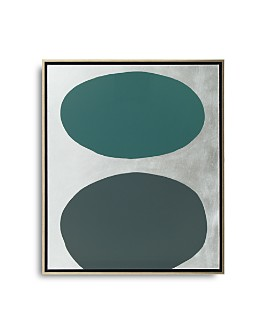 """Mitchell Gold Bob Williams - Green Floating Spheres with Silver Art, 26"""" x 31"""""""