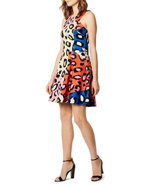 KAREN MILLEN COLOR-BLOCK LEOPARD PRINT DRESS