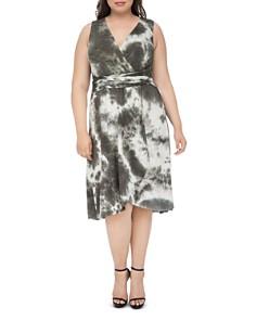 B Collection by Bobeau Curvy - Rowan Tie-Dyed Faux-Wrap Dress