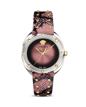 Versace Collection Shadov Rose Snakeskin Watch, 38mm