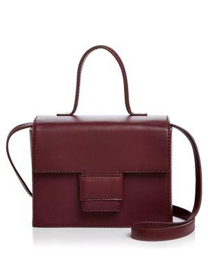 STEVEN ALAN Meryl Medium Leather Box Bag in Vineyard Wines Red/Silver