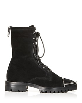 Alexander Wang - Women's Kennah Round Toe Suede Lace-Up Boots
