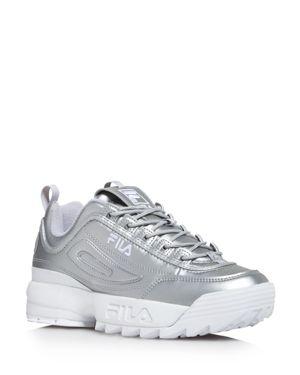 Fila Women's Disruptor Ii Premium Lace Up Metallic Leather Dad Sneakers