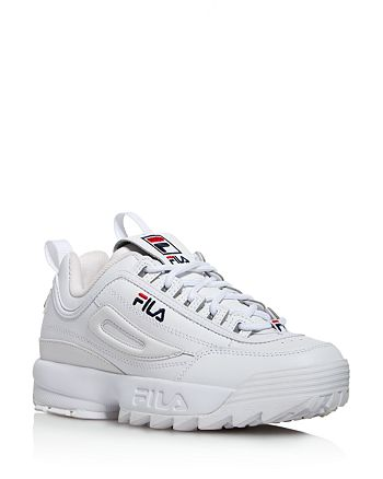 FILA - Women's Disruptor II Premium Lace Up Leather Dad Sneakers