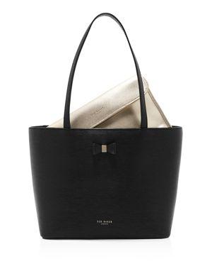 Bow Detail Leather Shopper - Black