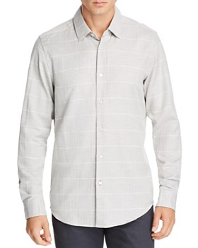 BOSS - Lukas Micro-Herringbone Grid-Print Regular Fit Shirt