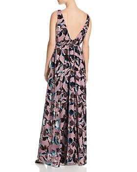 Aidan by Aidan Mattox - Floral Velvet Wrap Gown
