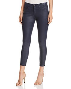 AG - Coated Ankle Legging Jeans in Vintage Leatherette Navy