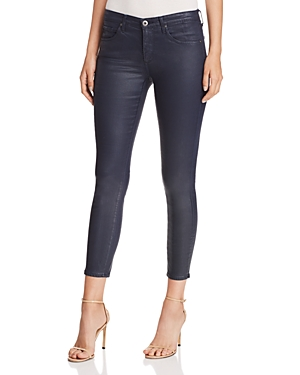 Ag Coated Ankle Legging Jeans in Vintage Leatherette Navy