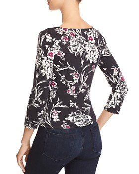 GUESS - Erie Ruched Drawstring Floral Top