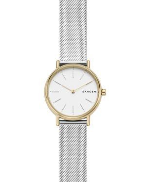 SKAGEN Women'S Signatur Slim Stainless Steel Mesh Bracelet Watch 30Mm in Two-Tone