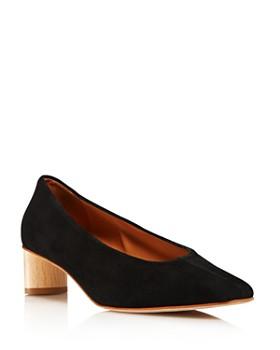 LoQ - Women's Frida Almond Toe Suede Mid-Heel Pumps