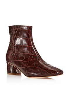 LoQ - Women's Matea Almond Toe Croc-Embossed Leather Mid Heel Booties