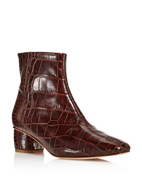 LoQ - Women's Matea Almond Toe Croc-Embossed Leather Mid Heel Booties