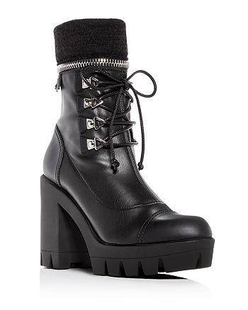 8556e13cb53e Giuseppe Zanotti - Women s Gintonic Leather Zip Top Block-Heel Platform  Combat Boots