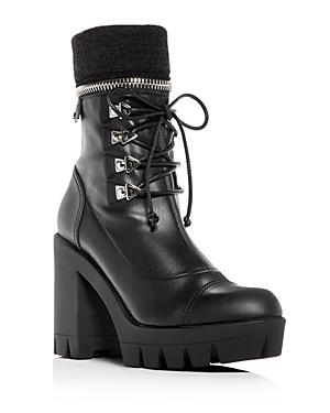 Giuseppe Zanotti Women's Gintonic Leather Zip Top Block-Heel Platform Combat Boots