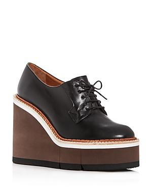 Robert Clergerie Women's Badiane Leather Platform Wedge Oxfords