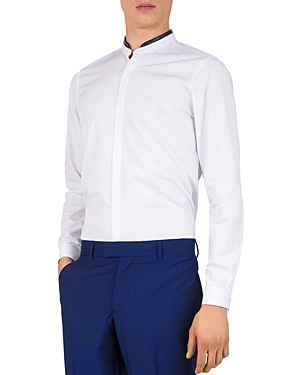 The Kooples Geo-Spring Lambskin-Collar Slim Fit Sport Shirt