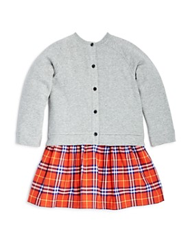 Burberry - Girls' Francine Check Skirt Sweatshirt Dress - Little Kid, Big Kid