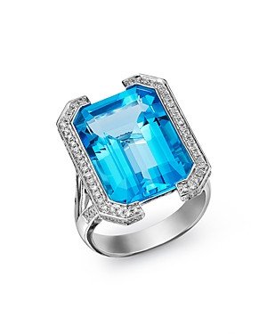 Bloomingdale's Swiss Blue Topaz & Diamond Statement Ring in 18K White Gold - 100% Exclusive