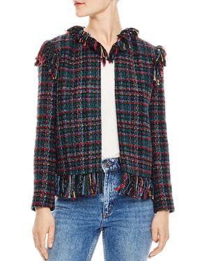 Pumba Frayed-Trim Checked Tweed Jacket, Multi-Color