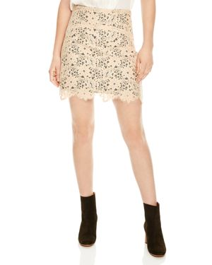Sandro Helena High-Waisted Lace Mini Skirt