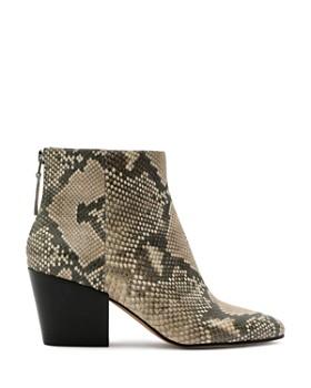 Dolce Vita - Women's Almond Toe Snakeskin-Embossed Leather Booties
