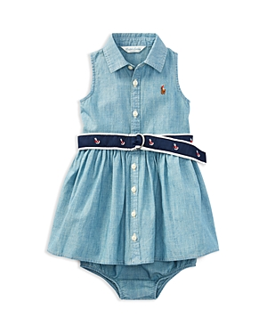 Ralph Lauren Girls' Chambray Dress, Belt & Bloomers Set - Baby